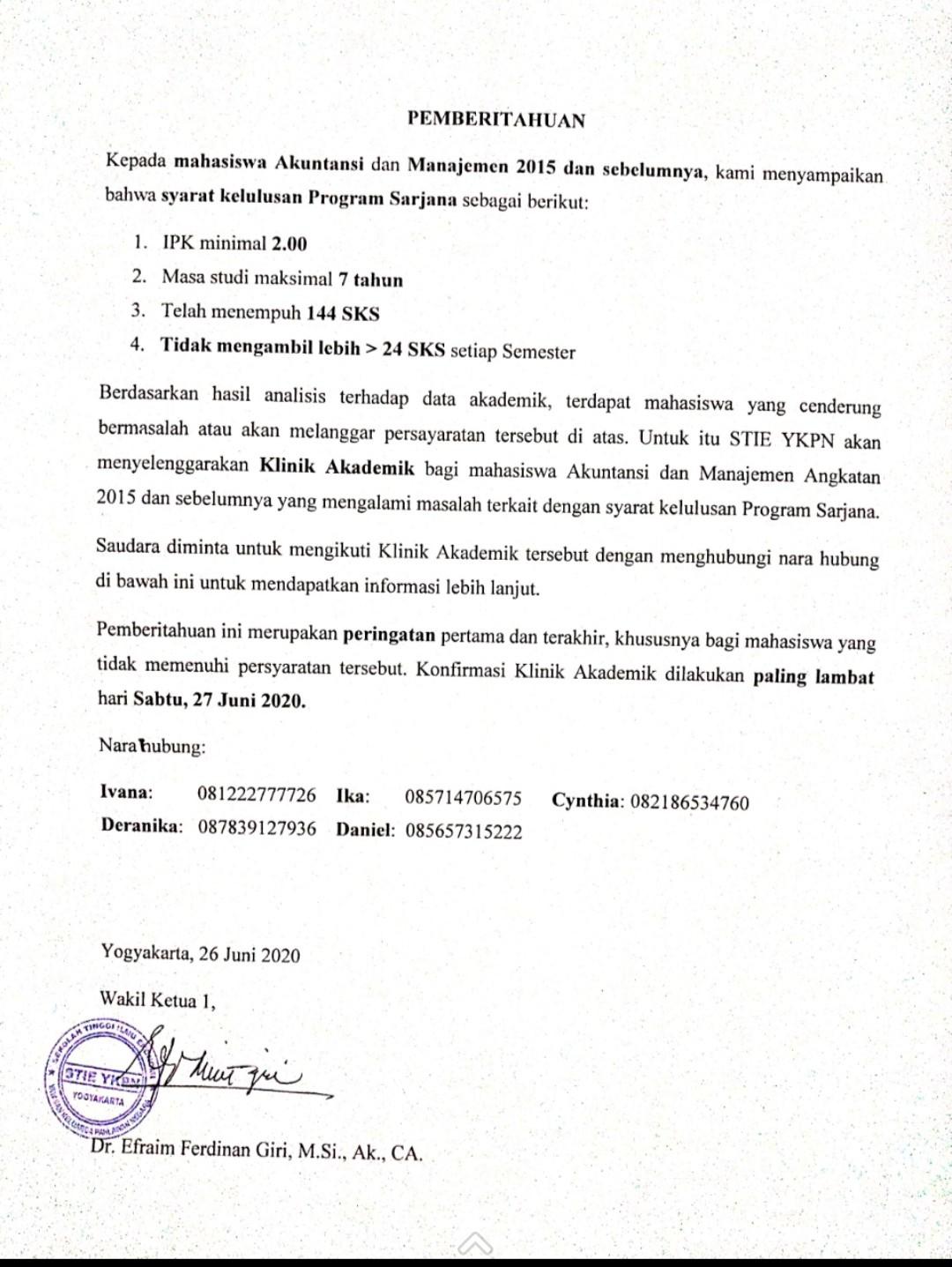Klinik Akademik Mahasiswa Akuntansi dan Manajemen Angkatan 2015 dan Sebelumnya yang Mengalami Masalah terkait dengan Syarat Kelulusan Program Sarjana
