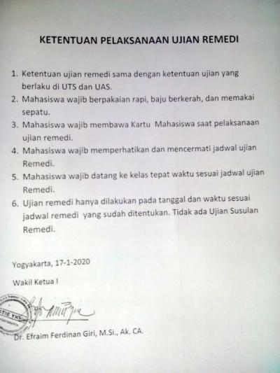 Ketentuan Pelaksanaan Ujian Remidi