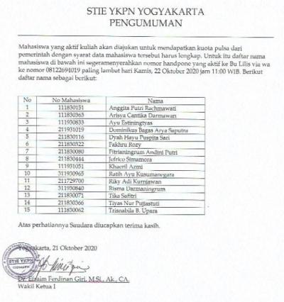 Daftar Mahasiswa Kurang Lengkap Nomor Handphone Aktif [Kuota]