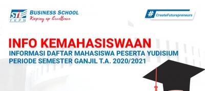 NFORMASI DAFTAR MAHASISWA PESERTA YUDISIUM  PERIODE SEMESTER GANJIL TAHUN AKADEMIK 2020/2021
