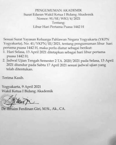Surat Edaran Wakil Ketua I Bid Akademik