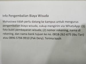 Info Pengembalian Biaya Wisuda 04 April 2020