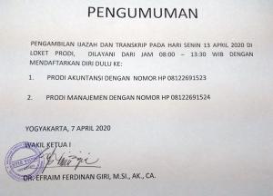 PENGAMBILAN IJAZAH DAN TRANSKRIP PADA HARI SENIN 13 APRIL 2020