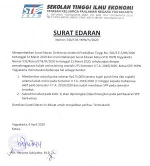 Subsidi kuliah online / daring bagi mahasiswa STIE YKPN