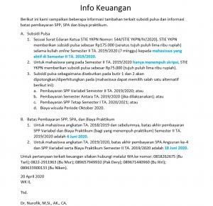 Subsidi Pulsa dan Informasi Batas Pembayaran SPP, SPA dan Biaya Praktikum.