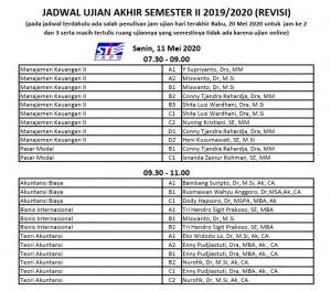 Jadwal Ujian Akhir Semester Genap TA 2019/2020