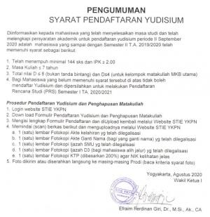Pengumuman Syarat Pendaftaran Yudisium Periode II September 2020