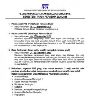 Pedoman Pendaftaran Rencana Studi (PRS) Semester Ganjil TA 2020/2021
