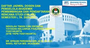 Jadwal Pembimbingan Dan Pendaftaran Rencana Studi (online) Semester 1 TA. 2020/2021