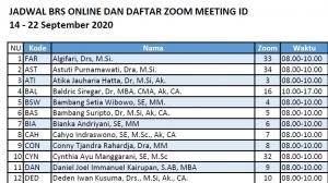 Jadwal BRS Online dan Daftar Meeting ID