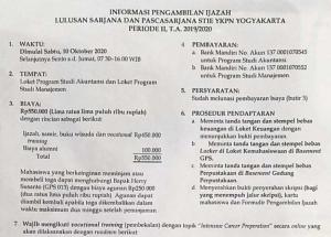 Informasi Pengambilan Ijazah Lulusan Sarjana dan Pasca Sarjana STIE YKPN Yogyakarta
