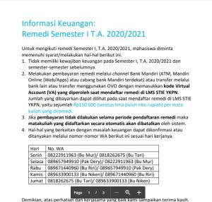 Informasi Keuangan : Remedi Semester I T.A. 2020/2021